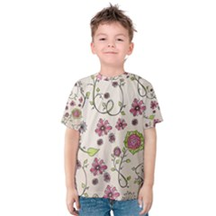 Pink Whimsical flowers on beige Kid s Cotton Tee