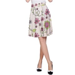 Pink Whimsical Flowers On Beige A Line Skirt