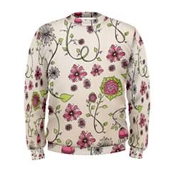 Pink Whimsical Flowers On Beige Men s Sweatshirt