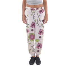 Pink Whimsical flowers on beige Women s Jogger Sweatpants