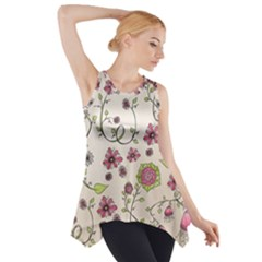 Pink Whimsical flowers on beige Side Drop Tank Tunic