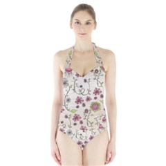 Pink Whimsical Flowers On Beige Women s Halter One Piece Swimsuit