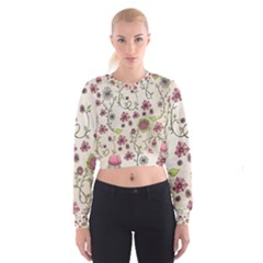 Pink Whimsical flowers on beige Women s Cropped Sweatshirt