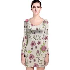 Pink Whimsical flowers on beige Long Sleeve Velvet Bodycon Dress