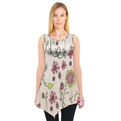 Pink Whimsical flowers on beige Sleeveless Tunic