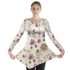 Pink Whimsical Flowers On Beige Long Sleeve Tunic