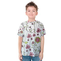 Pink Whimsical Flowers On Blue Kid s Cotton Tee