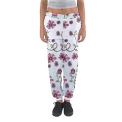 Pink whimsical flowers on blue Women s Jogger Sweatpants