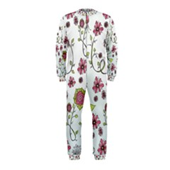Pink Whimsical Flowers On Blue Onepiece Jumpsuit (kids)