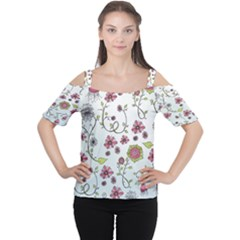 Pink Whimsical Flowers On Blue Women s Cutout Shoulder Tee