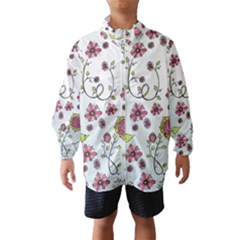 Pink Whimsical Flowers On Blue Wind Breaker (kids)