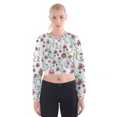 Pink Whimsical Flowers On Blue Women s Cropped Sweatshirt