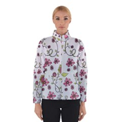 Pink whimsical flowers on blue Winterwear