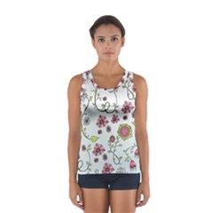 Pink whimsical flowers on blue Tops