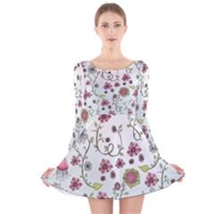 Pink whimsical flowers on blue Long Sleeve Velvet Skater Dress