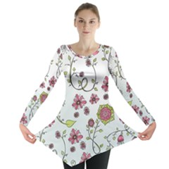 Pink whimsical flowers on blue Long Sleeve Tunic