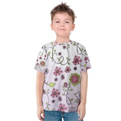 Pink whimsical flowers on pink Kid s Cotton Tee