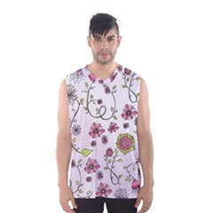 Pink whimsical flowers on pink Men s Basketball Tank Top