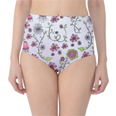 Pink Whimsical Flowers On Pink High Waist Bikini Bottoms