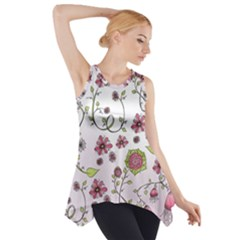Pink Whimsical Flowers On Pink Side Drop Tank Tunic