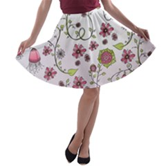 Pink whimsical flowers on pink A-line Skater Skirt