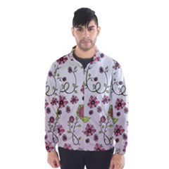 Pink whimsical flowers on pink Wind Breaker (Men)