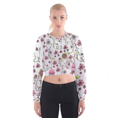 Pink whimsical flowers on pink Women s Cropped Sweatshirt