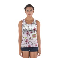 Pink whimsical flowers on pink Tops