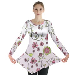 Pink whimsical flowers on pink Long Sleeve Tunic