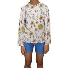 Yellow Whimsical Flowers  Kid s Long Sleeve Swimwear