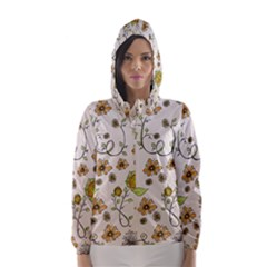 Yellow Whimsical Flowers  Hooded Wind Breaker (Women)