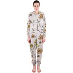 Yellow Whimsical Flowers  Hooded Jumpsuit (ladies)