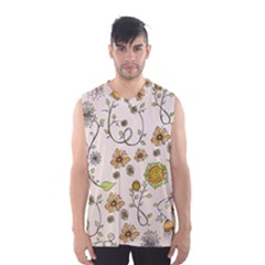 Yellow Whimsical Flowers  Men s Basketball Tank Top
