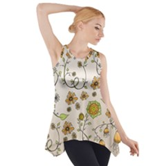 Yellow Whimsical Flowers  Side Drop Tank Tunic
