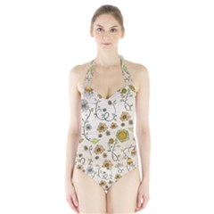Yellow Whimsical Flowers  Women s Halter One Piece Swimsuit