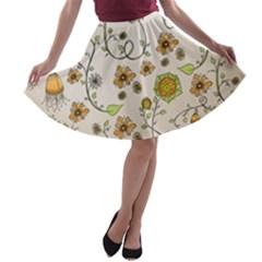 Yellow Whimsical Flowers  A-line Skater Skirt