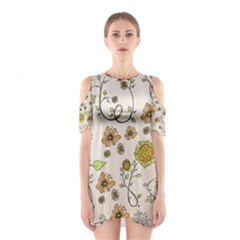 Yellow Whimsical Flowers  Cutout Shoulder Dress
