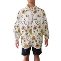 Yellow Whimsical Flowers  Wind Breaker (kids)