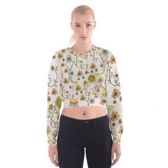 Yellow Whimsical Flowers  Women s Cropped Sweatshirt