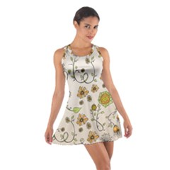 Yellow Whimsical Flowers  Racerback Dresses
