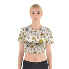 Yellow Whimsical Flowers  Cotton Crop Top