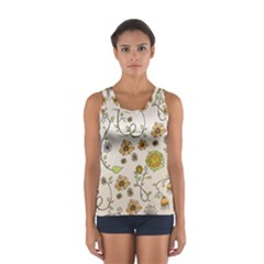 Yellow Whimsical Flowers  Tops