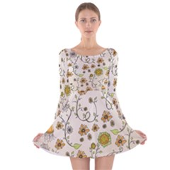 Yellow Whimsical Flowers  Long Sleeve Velvet Skater Dress