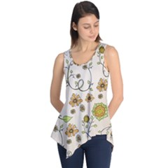 Yellow Whimsical Flowers  Sleeveless Tunic