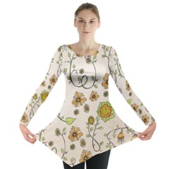 Yellow Whimsical Flowers  Long Sleeve Tunic