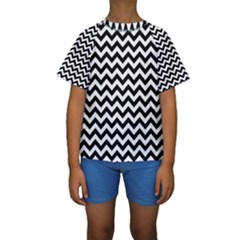 Black And White Zigzag Kid s Short Sleeve Swimwear