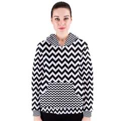 Black And White Zigzag Women s Zipper Hoodie