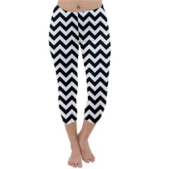 Black And White Zigzag Capri Winter Leggings