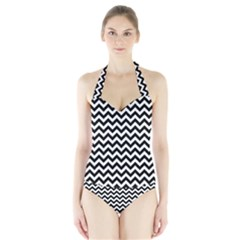 Black And White Zigzag Women s Halter One Piece Swimsuit