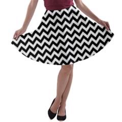 Black And White Zigzag A Line Skater Skirt